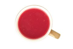 Berry Kisel drink in a cup on a white background - a top view. Berry Kisel drink in a cup on a white background  top view Stock Image