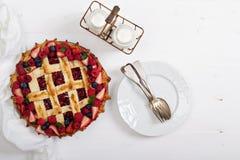 Berry lattice pie Stock Photography