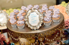 Berry Lavendar Purple Cupcakes. A tray of berry lavendar purple cupcakes Stock Photo
