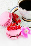 Berry macaroon with red currants. And a cup of coffee Royalty Free Stock Image