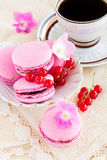 Berry macaroon with red currants. And a cup of coffee Royalty Free Stock Images
