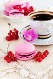 Berry macaroon with red currants. And a cup of coffee Royalty Free Stock Photos