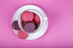 Berry macaroons in a white cup royalty free stock photography