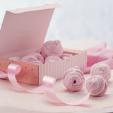 Berry marshmallow in a gift box on a pink background Stock Photo