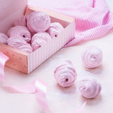 Berry marshmallow in a gift box on a pink background Stock Photography