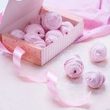 Berry marshmallow in a gift box on a pink background Stock Images