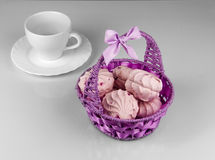 Berry marshmallows in the basket Royalty Free Stock Images