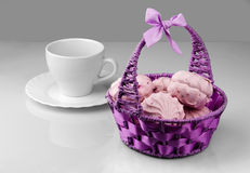 Berry marshmallows in the basket Stock Images