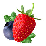 Berry with mint on white background. Isolated fruits. Strawberry and blueberry with peppermint isolated on white background as package design element royalty free stock image