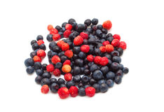 Berry mix. Of blueberries and strawberries isolated on white background Stock Photography