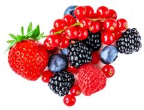 Berry Mix Isolated On A White Background. Various Fresh Berries. Raspberry, Blueberry, Cranberry, Blackberry And Strawberry Stock Photography