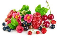 Berry mix with strawberry raspberry and currant stock images