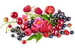 Berry mix with strawberry raspberry and currant stock image