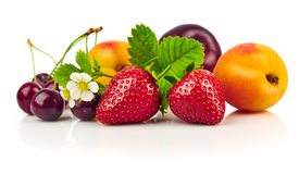 Berry mix with strawberry raspberry royalty free stock photo