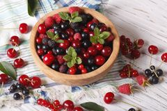 Berry mix in a wooden bowl close-up. Horizontal Royalty Free Stock Images