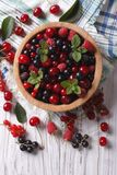 Berry mix in a wooden bowl vertical top view. Salad of cherry, raspberry, currant and blackberry in a wooden bowl on the table. vertical top view Stock Photos