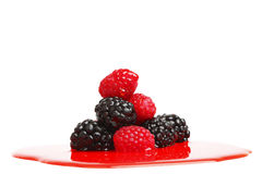 Berry mixed pile in syrup Stock Image