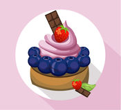 Berry mousse delicious cake. Sweet dessert blackberry flavors Vector illustration Stock Photos