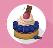 Berry mousse delicious cake. Sweet dessert cherry blackberry flavors Vector illustration Royalty Free Stock Photos