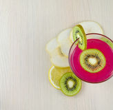Berry mousse with kiwi fruit, Chinese pear and lemon. Royalty Free Stock Photos