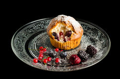 Berry Muffin. Homemade muffin, with triple berry combination. Refreshing, tastefull and full of vitamins Royalty Free Stock Photography