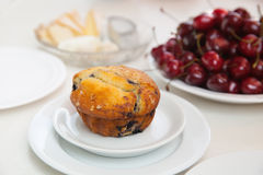 Berry muffin and a cherry Royalty Free Stock Image