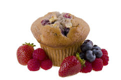 Berry muffin. Isolated on white background Stock Photos