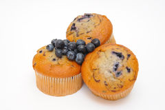 Berry Muffins. Blueberry muffins with fresh blueberries on top of the cakes on a light colored background Royalty Free Stock Image