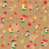 Berry, mushrooms and autumn leaves. Seamless Pattern with berry, mushrooms and autumn leaves on a brown Background Royalty Free Stock Images
