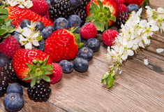 Berry over Wood. Strawberries, Royalty Free Stock Photography