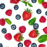 Berry Pattern. Fresh berries isolated on white background, top v. Iew. Strawberry, Raspberry, Blueberry and Mint leaf, flat lay Stock Photography