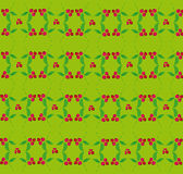 Berry pattern on a green background. Ornament made from natural items (berries and leaves)on a green background Stock Photo