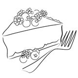 Berry pie. Illustration of a slice of berry pie in black and white Stock Images