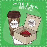 Berry pie in carton box and coffee in paper cup Royalty Free Stock Photos