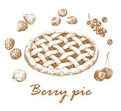 Berry pie. Hand-drawn graphic picture of apple pie and different berries. Retro style. Vector and raster versions Stock Images