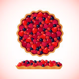 Berry pie icon on white background Stock Photography