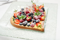 Berry pie. In the shape of a heart Royalty Free Stock Image