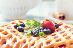 Berry pie and tea Royalty Free Stock Photo
