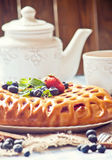Berry pie and tea Royalty Free Stock Image