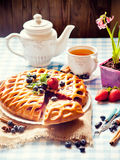 Berry pie and tea Royalty Free Stock Photography