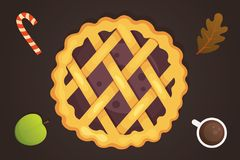 Berry pie vector icon isolated. Thanksgiving Day illustration Royalty Free Stock Images