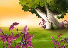 Berry-producing plant. Highly detailed cartoon background 06 - illustration royalty free illustration
