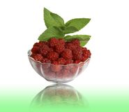 Berry raspberries in a glass vase with the leaves Stock Photography