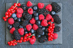 Berry raspberries red currants and blueberries on black slate bo. Ard. Gray stone background.  Top view Stock Image