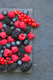Berry raspberries red currants and blueberries on black slate bo. Ard. Gray stone background.  Top view Stock Photos