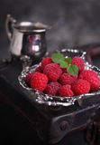 Berry red raspberry and mint leaf Stock Image