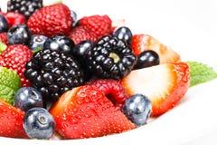 Berry Salad mélangé avec la menthe Images libres de droits
