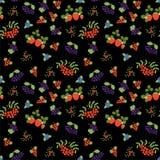 Berry seamless pattern. Fashion print. Mountain ash, strawberry, blueberry, currant, rowan, viburnum and black chokeberry. Design. Berry seamless pattern stock illustration