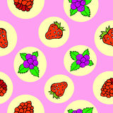 Berry seamless pattern. Pink background. Collection of strawberries, raspberries, currants. Bright circles royalty free illustration