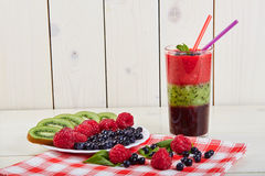 Berry smoothie.Fresh summer cocktail. Stock Photo